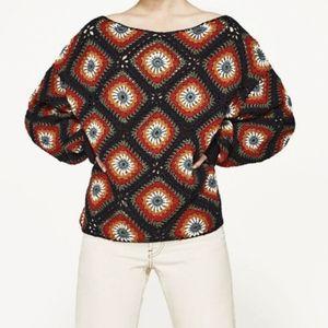 Zara women's crochet knit sweater retro vintage Granny squares small